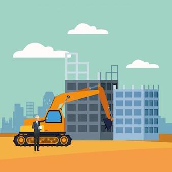 Escavadeira e engenheiro em cenário de construção