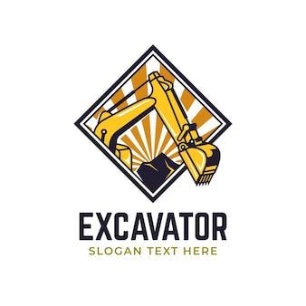 Escavadeira e logotipo de construção