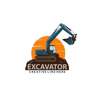 Escavadeira e sol Vetor Premium