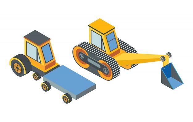 Escavadeira e transporte com cinto de lugar de carga