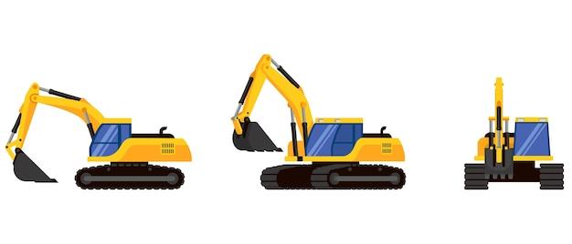 Escavadeira em diferentes ângulos. maquinaria especial em estilo cartoon.