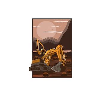 Escavadeira nas colinas