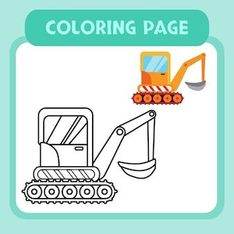 Escavadeira para colorir vetor premium para crianças e coleção