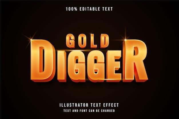 Escavador de ouro, efeito de texto editável em 3d estilo gradação amarela ouro