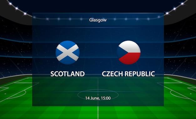 Escócia vs placar de futebol da república tcheca. Vetor Premium