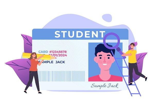 Escola, cartão de identificação do aluno com foto. ilustração vetorial.