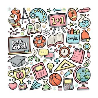 Escola cheio colorir mão desenhada doodle