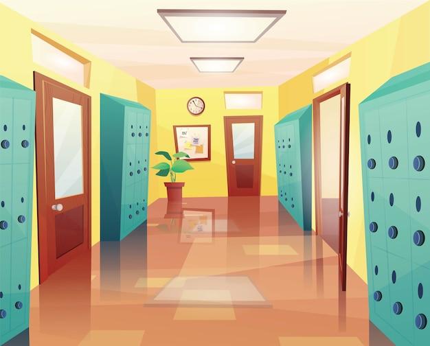 Escola, corredor da faculdade com portas abertas e fechadas, armários de armazenamento, quadro de avisos.