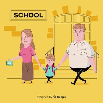 Escola crianças, com, pais, fundo