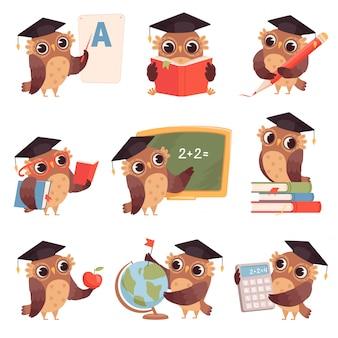Escola da coruja. personagens de pássaros professor ensinando leitura escrita corujas coleção de desenhos animados
