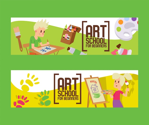 Escola de arte para iniciantes conjunto de banners.