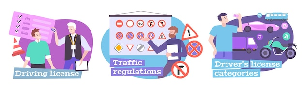 Escola de condução com símbolos de regulamentos de trânsito ilustrações isoladas