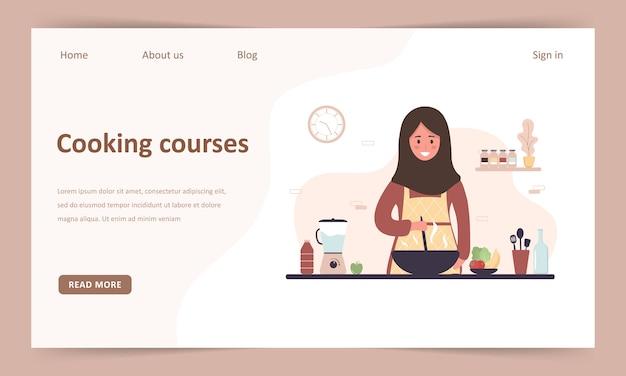 Escola de culinaria. master class online de culinária. modelo de página de destino. menina muçulmana em hijab preparando refeições caseiras para o almoço ou jantar.