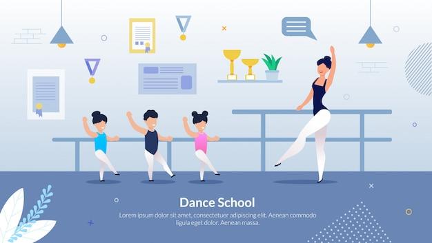 Escola de dança de inscrição panfleto informativo plana.