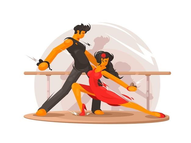 Escola de dança. garoto e garota linda dança.
