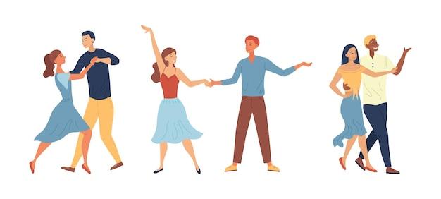 Escola de dança ou conceito de competições. pessoas que gostam de passar algum tempo juntos. personagens masculinos e femininos se divertem dançando tango em par juntos. estilo simples dos desenhos animados. ilustração vetorial.