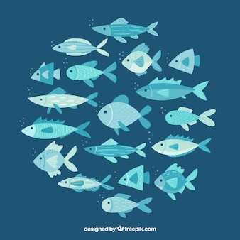 Escola de fundo de peixes na mão desenhada estilo