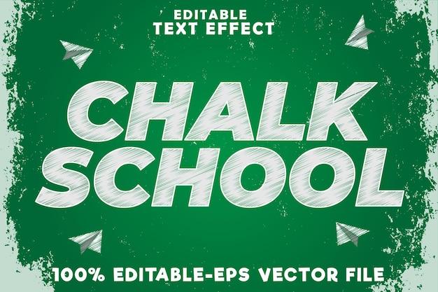 Escola de giz com efeito de texto editável e estilo de giz de volta às aulas