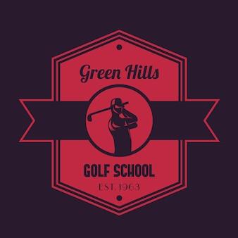 Escola de golfe logotipo vintage, emblema com golfista balançando clube
