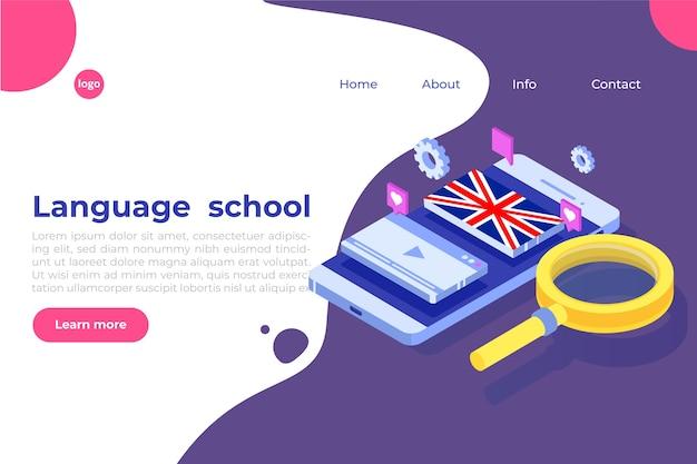 Escola de línguas, aprendizagem online. tradutor isométrico.