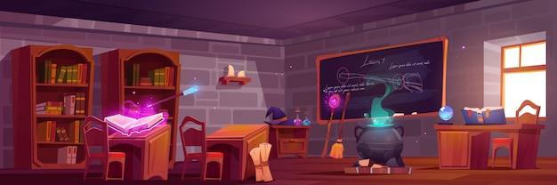 Escola de magia, interior da sala de aula com mesas de madeira para alunos e professores,