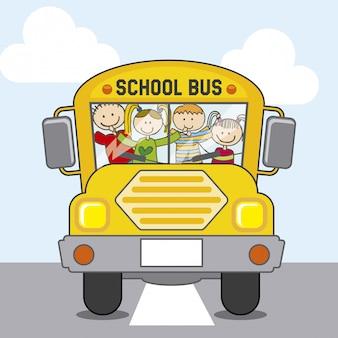 Escola de ônibus sobre ilustração em vetor fundo céu