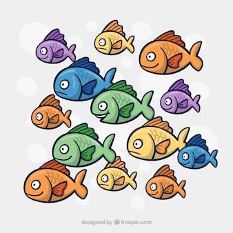Escola de peixes coloridos fundo na mão desenhada estilo