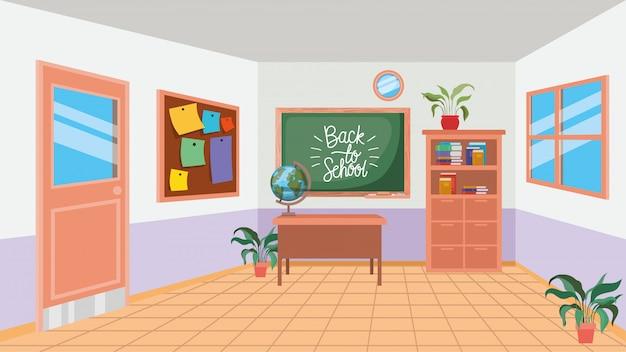 Escola de sala de aula com cena de lousa