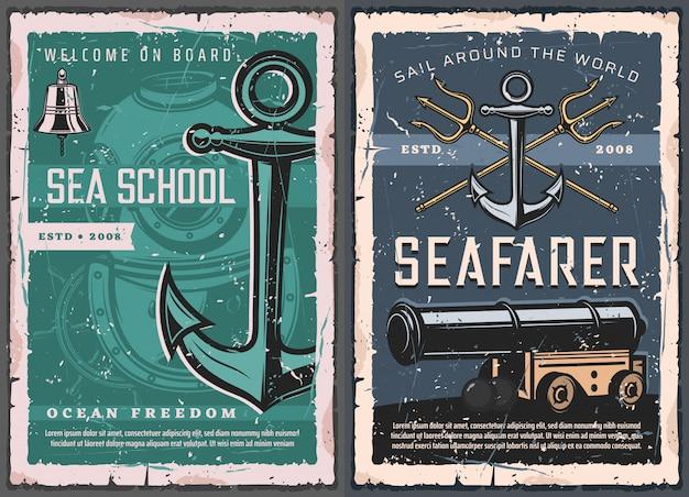 Escola do mar, cartazes vintage náuticos marinhos