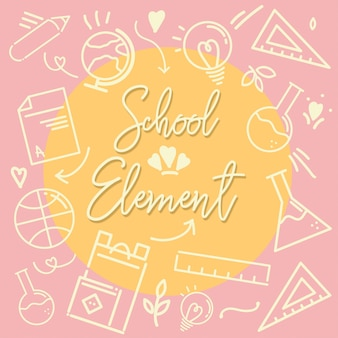 Escola elemento contorno ícone rosa