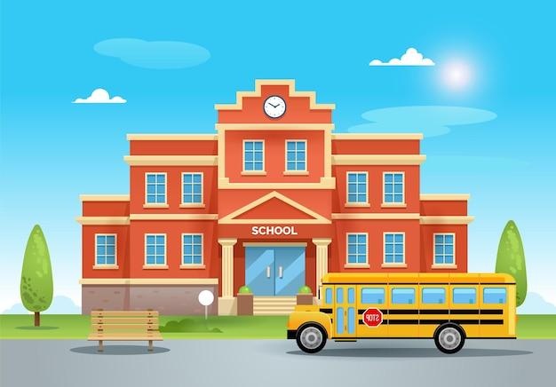 Escola em um dia de verão com gramado verde e céu azul. um ônibus escolar amarelo em frente à escola na ilustração plana da estrada de asfalto