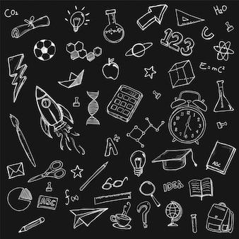 Escola estacionária doodles bundle pack