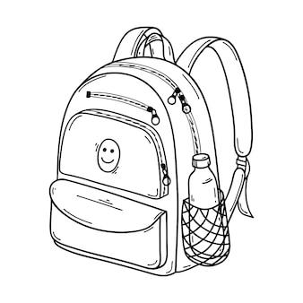 Escola fechada ou mochila esportiva em estilo doodle. com bolso para garrafa de água. desenhado à mão preto e branco