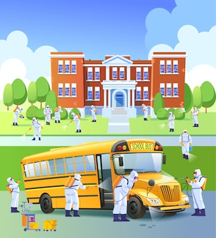 Escola fechada, quarentena. trabalhadores pulverizam desinfetante como parte de medidas preventivas contra a propagação do coronavírus covid-19 ou novel, em uma escola e em um ônibus escolar. ilustração dos desenhos animados