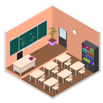 Escola interior ou sala de aula universitária com vista isométrica de móveis.