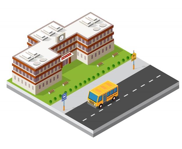 Escola isométrica edifício estudo educação