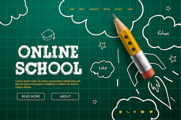 Escola online. tutoriais e cursos digitais na internet, educação on-line, e-learning. modelo de banner da web para site, página de destino e desenvolvimento de aplicativos para dispositivos móveis. ilustração do estilo doodle