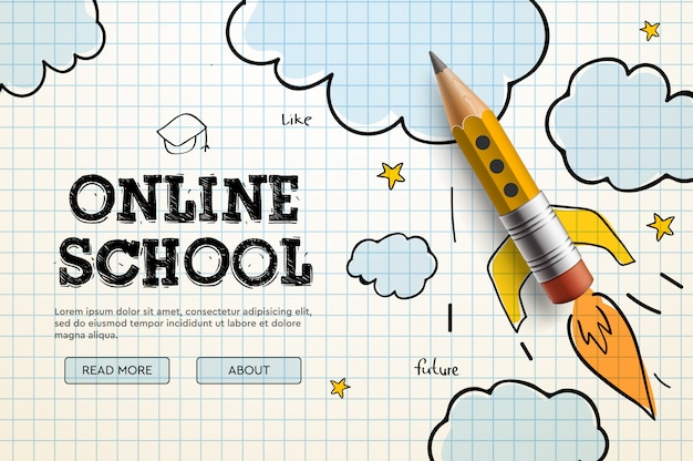 Escola online. tutoriais e cursos na internet digital, educação on-line. modelo de banner para o desenvolvimento de sites e aplicativos móveis. ilustração do estilo doodle