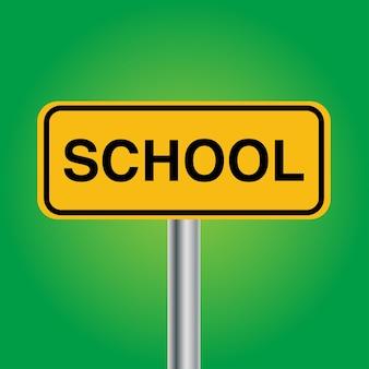 Escola ou pedestre com criança placa de sinalização cruzada com poste de metal