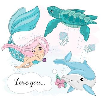 Escola outono mar subaquático vector set ilustração