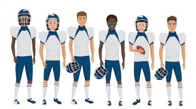 Escola plana futebol americano jovens rapazes de uniforme isolado.