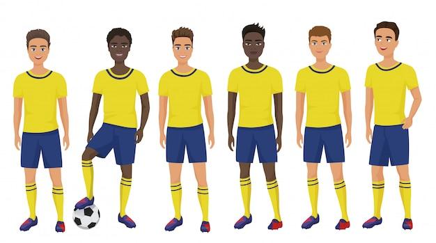 Escola plana futebol futebol jovens rapazes de uniforme isolado.