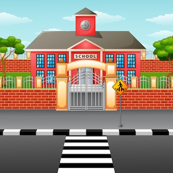 Escola, predios, com, crosswalk