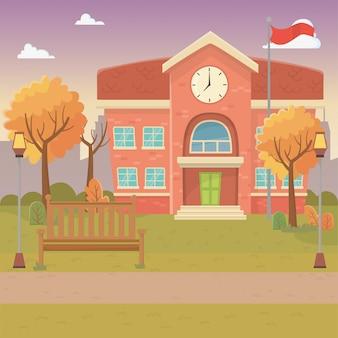 Escola, predios, desenho, vetorial, ilustração