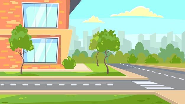 Escola, predios, perto, estrada, ilustração