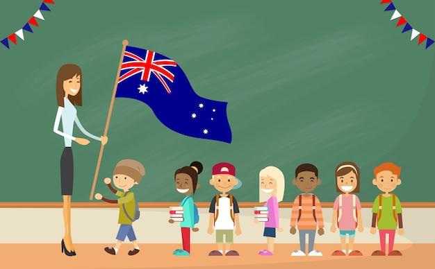 Escola professor, segurando, bandeira austrália