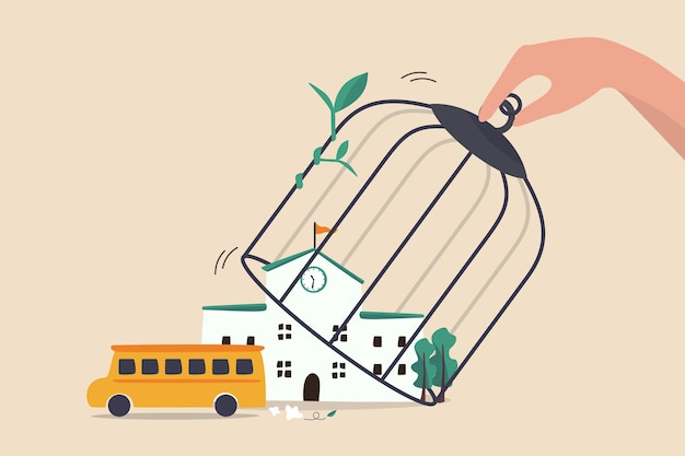 Escola reabrir e manter o distanciamento social após o bloqueio do covid-19 para evitar que o coronavírus se espalhe no conceito de crianças, passe gaiola aberta sobre a escola para deixar o ônibus escolar ir buscar os alunos.