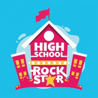 Escola secundária, estrela rock, frase, escola secundária, predios, costas, para, escola, ilustração