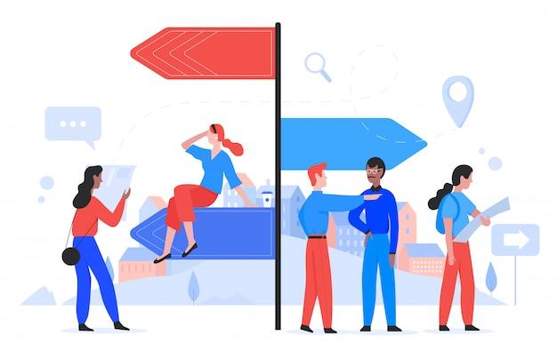 Escolha a ilustração do conceito de maneira, pessoas planas dos desenhos animados, fazendo a escolha do caminho para conquistas futuras, personagem escolhendo o caminho certo, parado na encruzilhada
