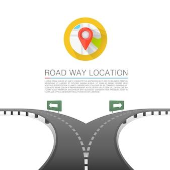 Escolha da estrada, cobertura da seta da estrada, localização do caminho da estrada, fundo do vetor